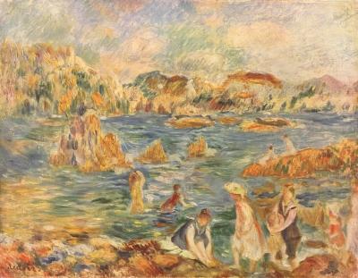 Riproduzione Bambini Sulla Spiaggia A Guernsey di Pierre Auguste Renoir