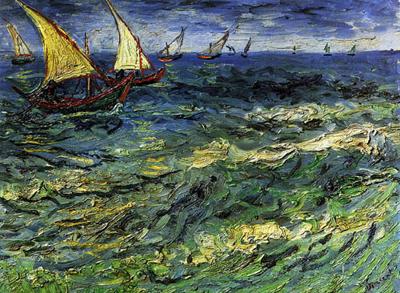 riproduzione barche da pesca in mare di vincent van gogh