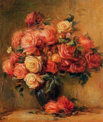 Riproduzione bouquet di rose di pierre auguste renoir for Riproduzione rose