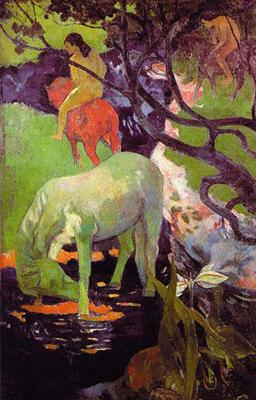 Riproduzione il cavallo bianco di paul gauguin - Piastrelle 15x15 bianco lucido ...