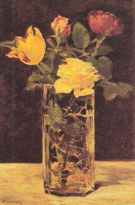 Riproduzione natura morta con rose e tulipani nel vaso di for Riproduzione rose