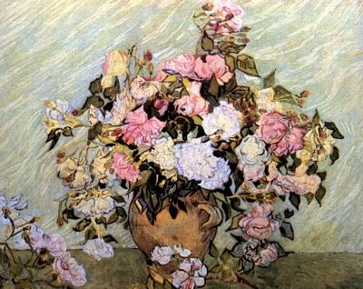 Riproduzione natura morta vaso di rose di vincent van gogh for Riproduzione rose