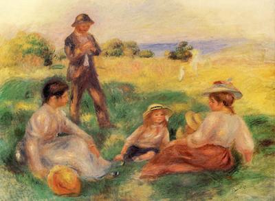Riproduzione Paesaggio A Berneval Con Persone di Pierre Auguste Renoir