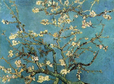 Riproduzione rami con fiori di mandorlo di vincent van gogh for Quadri fiori famosi
