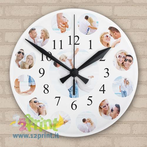 orologio con foto in vetro da appendere alla parete