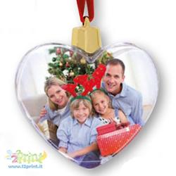 Palla Natale Clear Cuore Personalizzata