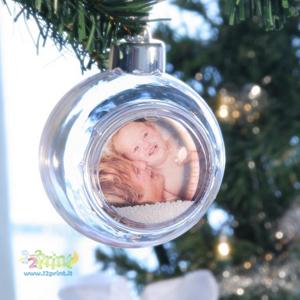 Pallina Natale Con Foto Digitale.Palle Albero Di Natale Trasparenti Personalizzate Con Foto